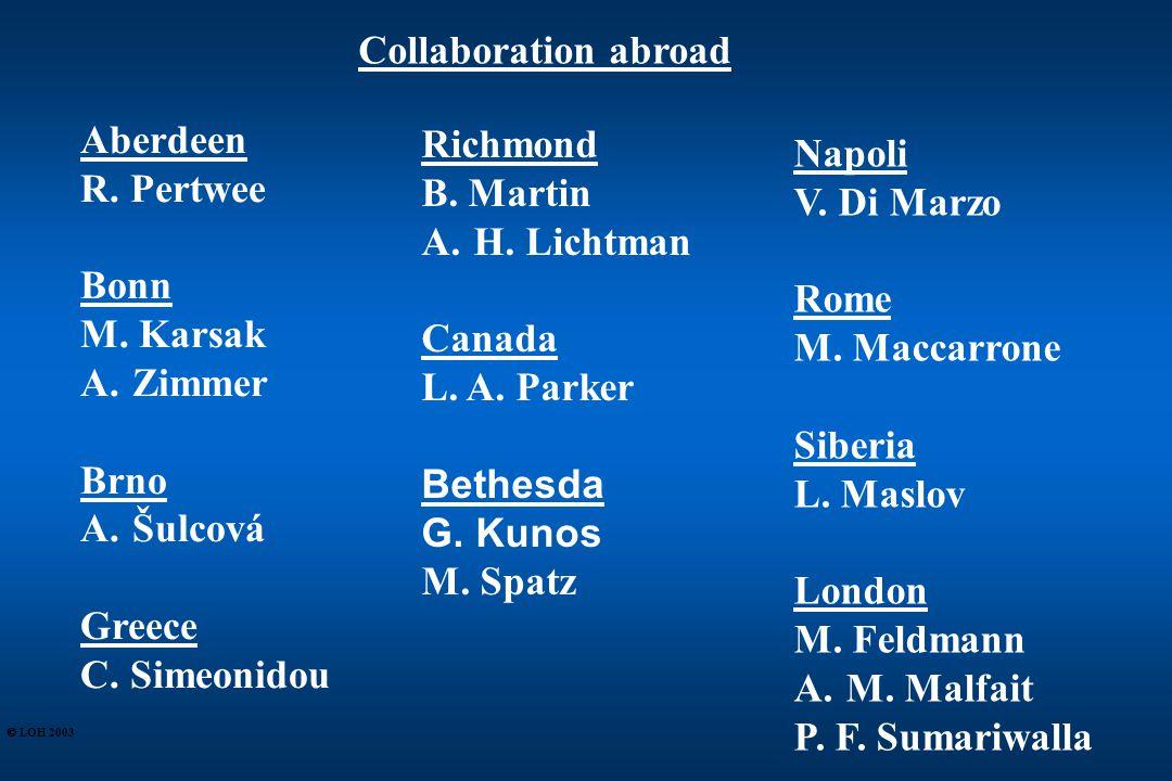 Collaboration abroad Aberdeen R. Pertwee Bonn M. Karsak A.Zimmer Brno A.Šulcová Greece C.