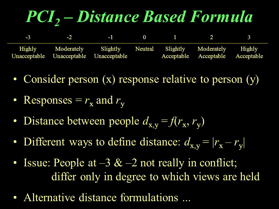PCI 2 – Distance Based Formula Consider person (x) response relative to person (y) Responses = r x and r y Distance between people d x,y = f(r x, r y ) Different ways to define distance: d x,y = |r x – r y | Issue: People at –3 & –2 not really in conflict; differ only in degree to which views are held Alternative distance formulations...