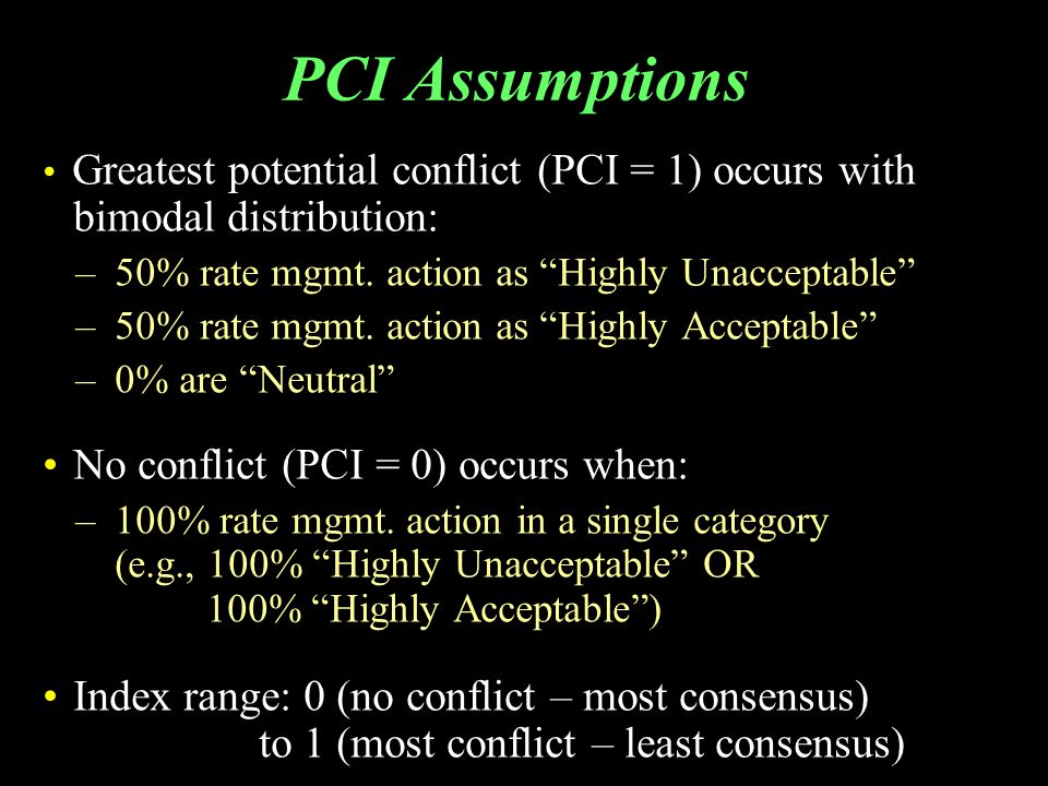 """PCI Assumptions Greatest potential conflict (PCI = 1) occurs with bimodal distribution: –50% rate mgmt. action as """"Highly Unacceptable"""" –50% rate mgmt"""