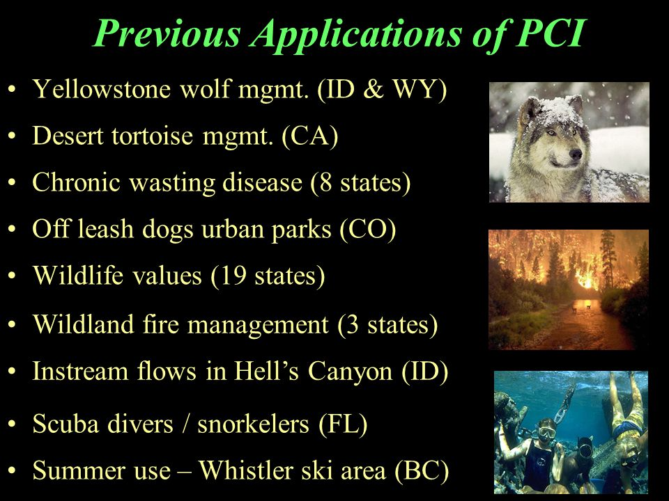 Previous Applications of PCI Yellowstone wolf mgmt. (ID & WY) Desert tortoise mgmt. (CA) Chronic wasting disease (8 states) Off leash dogs urban parks