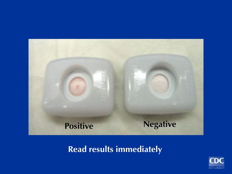 Read results immediately Positive Negative