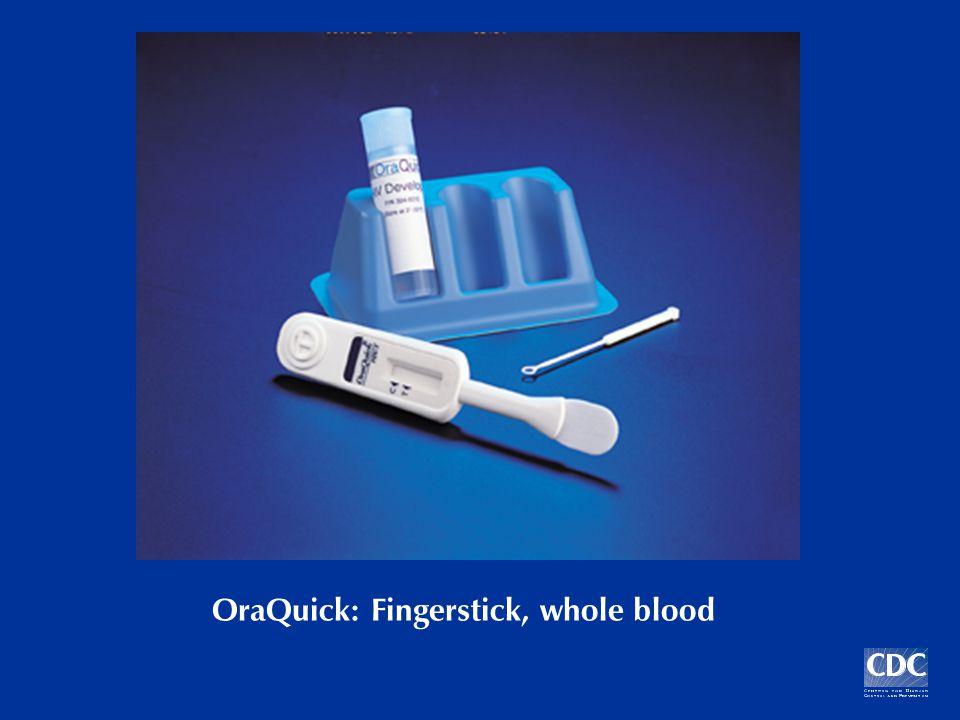 OraQuick Fingerstick Results: 7/02 – 6/03 N = 1021 Preliminary positive 5 (0.5%) True positives 4 (0.4%) False Positives 1 (0.1%) Sensitivity4/4 (100%) Specificity1016/1017 (99.9%) Positive Predictive Value4/5 (80%)