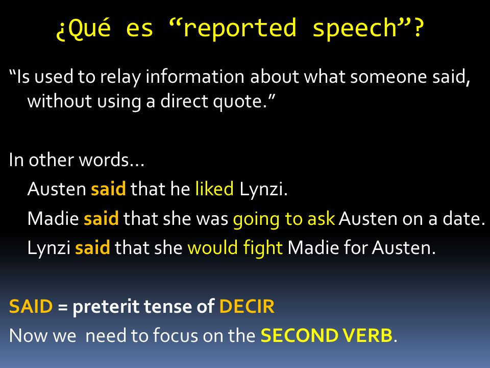 "¿Qué es ""reported speech""? ""Is used to relay information about what someone said, without using a direct quote."" In other words… Austen said that he l"