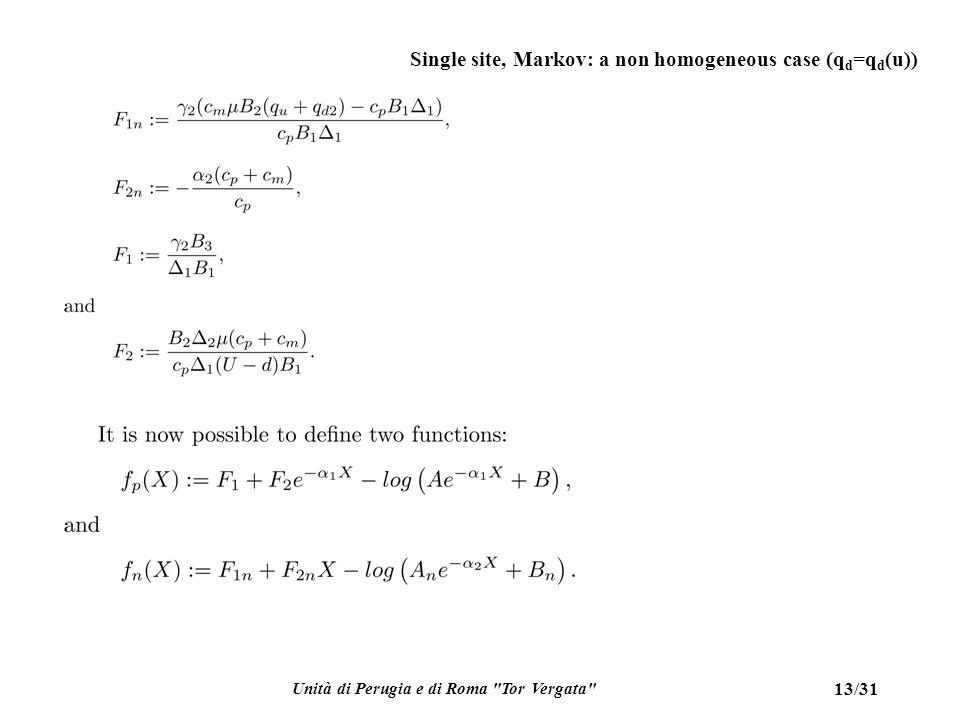 Unità di Perugia e di Roma Tor Vergata 13/31 Single site, Markov: a non homogeneous case (q d =q d (u))