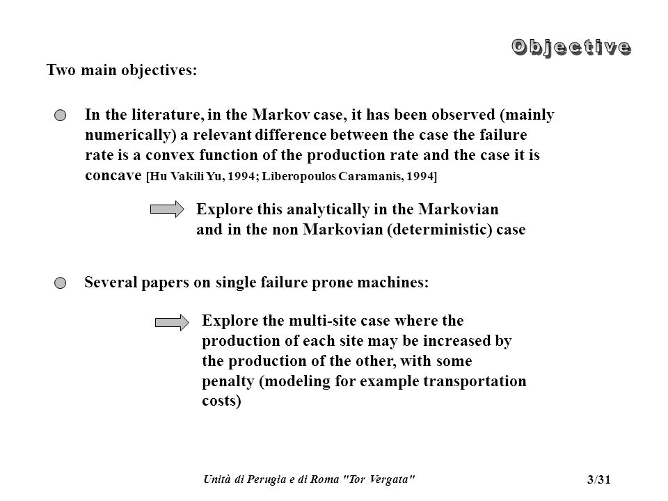 Unità di Perugia e di Roma Tor Vergata 14/31 Single site, Markov: a non homogeneous case (q d =q d (u))