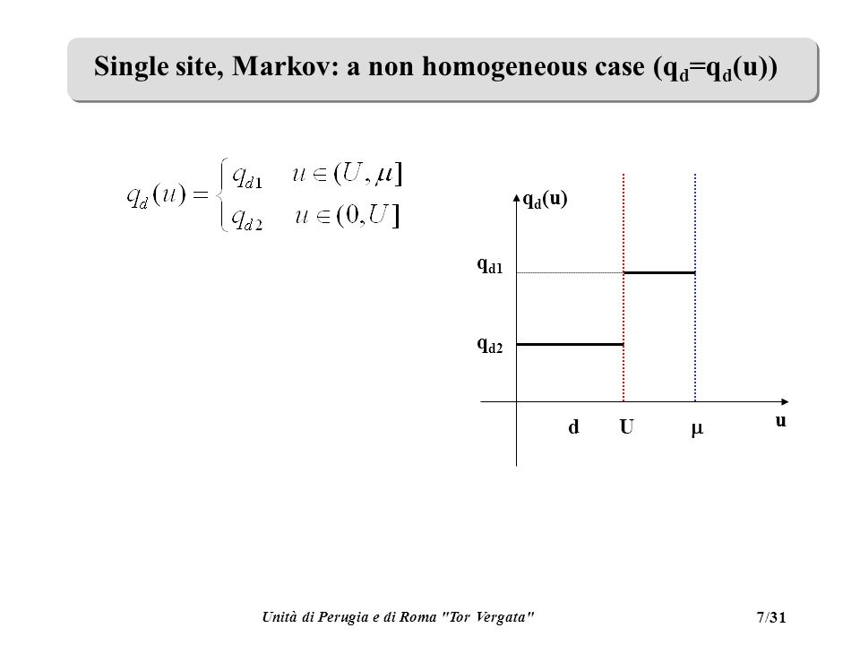 Unità di Perugia e di Roma Tor Vergata 28/31 Multi site, Markov, homogeneous Applying a stable stationary policy, let at steady state J=E[g(x,u)] Then define a differential cost: The total (not average) expected cost in [0,T] from x(0)=x and s(0)=s can be written as J T + V s (x).