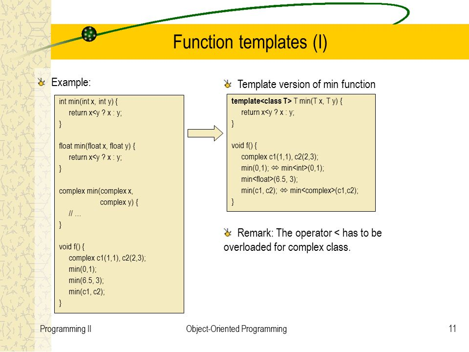 11Programming IIObject-Oriented Programming Function templates (I) Example: int min(int x, int y) { return x<y ? x : y; } float min(float x, float y)