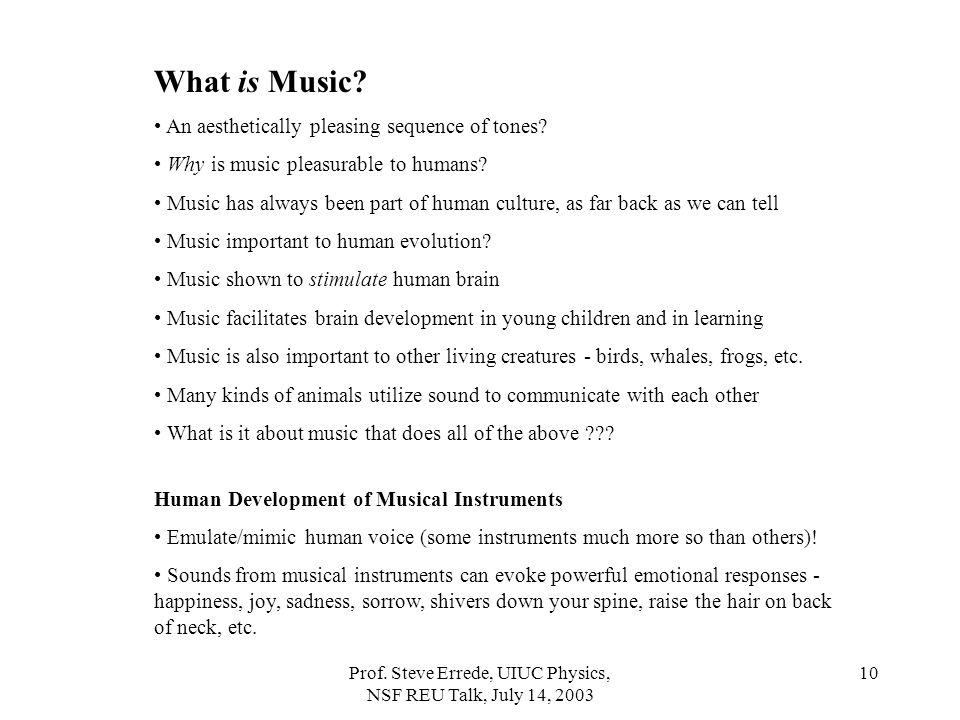 Prof.Steve Errede, UIUC Physics, NSF REU Talk, July 14, 2003 10 What is Music.