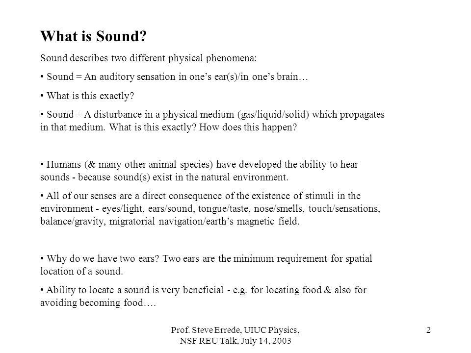 Prof.Steve Errede, UIUC Physics, NSF REU Talk, July 14, 2003 2 What is Sound.