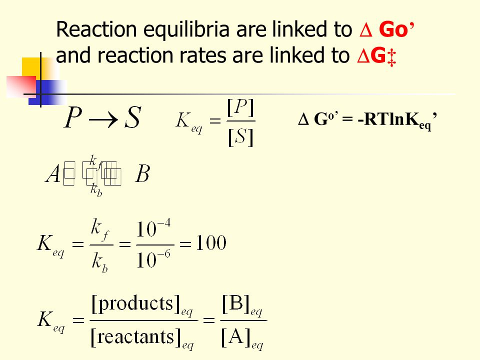  G o' = -RTlnK eq ' Reaction equilibria are linked to  Go ' and reaction rates are linked to  G ‡