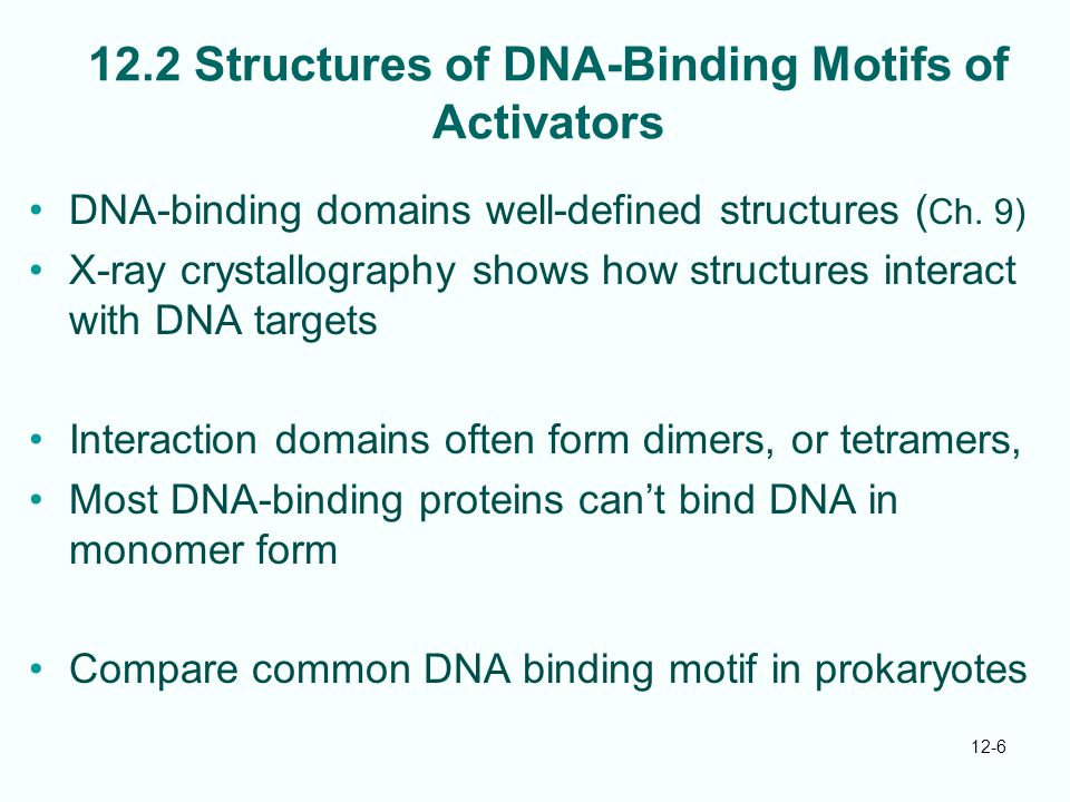 12-6 12.2 Structures of DNA-Binding Motifs of Activators DNA-binding domains well-defined structures ( Ch.
