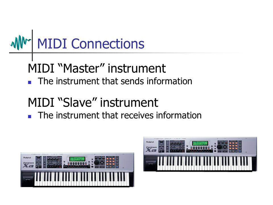 MIDI Connections MIDI Master instrument The instrument that sends information Master IN OUT THRU Slave IN OUT THRU MIDI Slave instrument The instrument that receives information