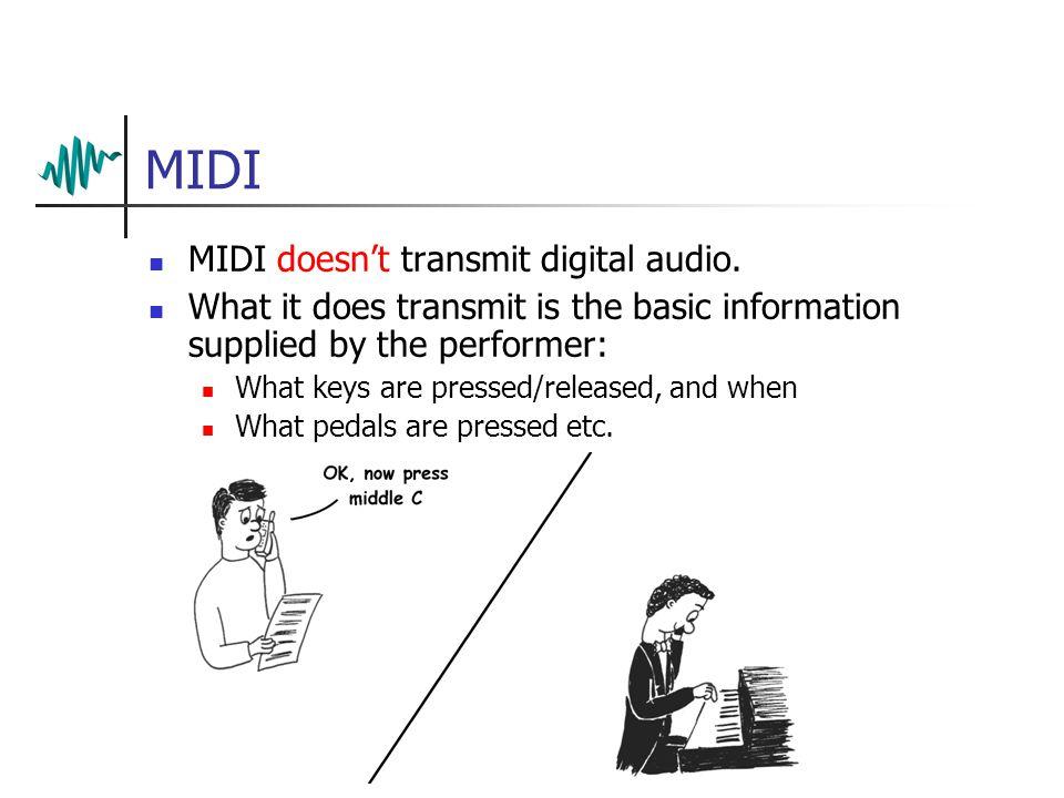 MIDI MIDI doesn't transmit digital audio.