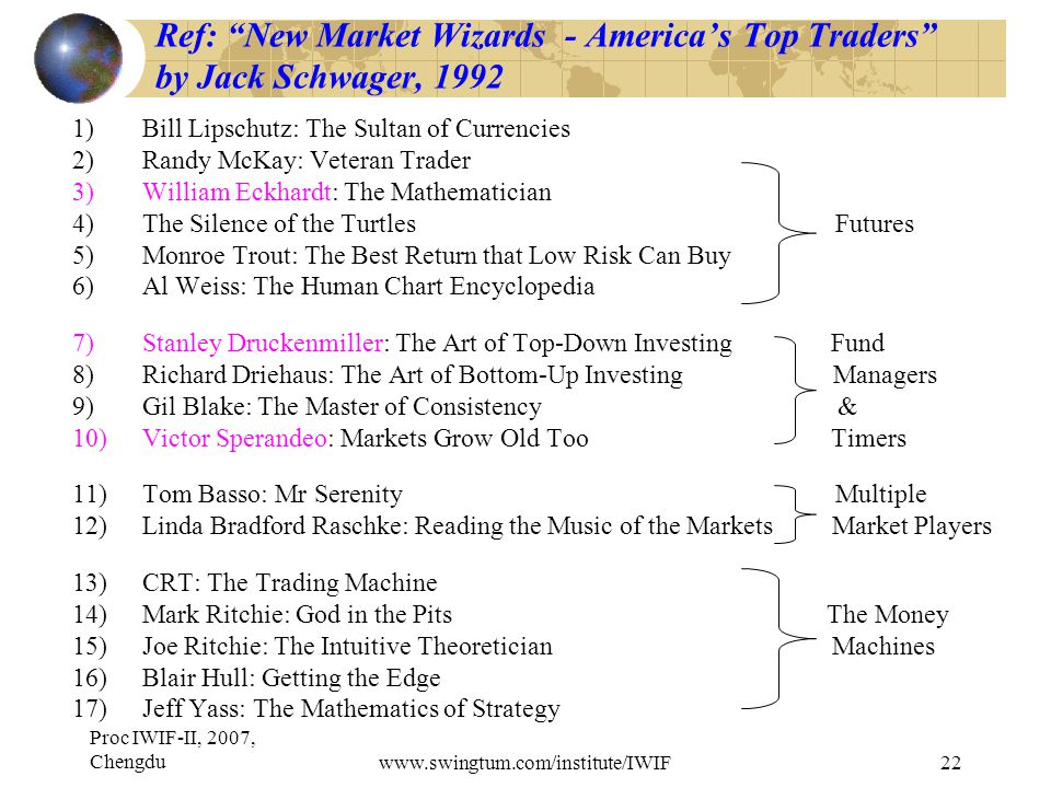 Proc IWIF-II, 2007, Chengduwww.swingtum.com/institute/IWIF22 Ref: New Market Wizards - America's Top Traders by Jack Schwager, 1992 1)Bill Lipschutz: The Sultan of Currencies 2)Randy McKay: Veteran Trader 3)William Eckhardt: The Mathematician 4)The Silence of the Turtles Futures 5)Monroe Trout: The Best Return that Low Risk Can Buy 6)Al Weiss: The Human Chart Encyclopedia 7)Stanley Druckenmiller: The Art of Top-Down Investing Fund 8)Richard Driehaus: The Art of Bottom-Up Investing Managers 9)Gil Blake: The Master of Consistency & 10)Victor Sperandeo: Markets Grow Old Too Timers 11)Tom Basso: Mr Serenity Multiple 12)Linda Bradford Raschke: Reading the Music of the Markets Market Players 13)CRT: The Trading Machine 14)Mark Ritchie: God in the Pits The Money 15)Joe Ritchie: The Intuitive Theoretician Machines 16)Blair Hull: Getting the Edge 17)Jeff Yass: The Mathematics of Strategy