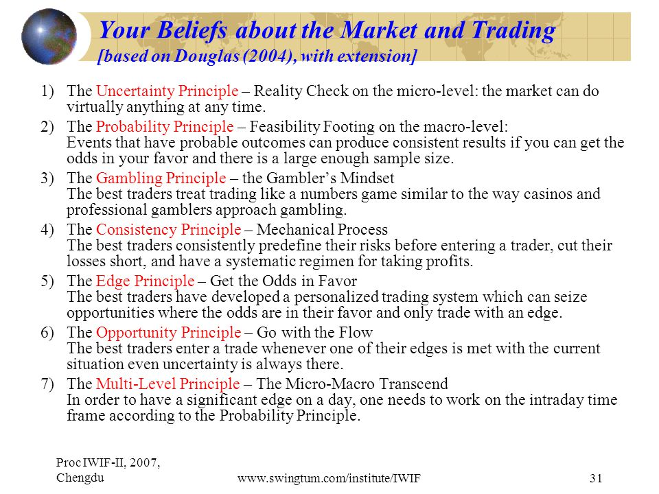 Proc IWIF-II, 2007, Chengduwww.swingtum.com/institute/IWIF31 Your Beliefs about the Market and Trading [based on Douglas (2004), with extension] 1)The Uncertainty Principle – Reality Check on the micro-level: the market can do virtually anything at any time.