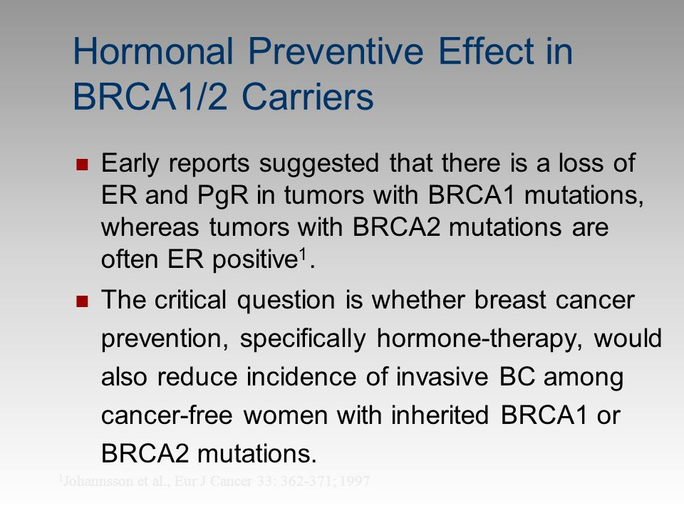 Hormonal Preventive Effect in BRCA1/2 Carriers Early reports suggested that there is a loss of ER and PgR in tumors with BRCA1 mutations, whereas tumo