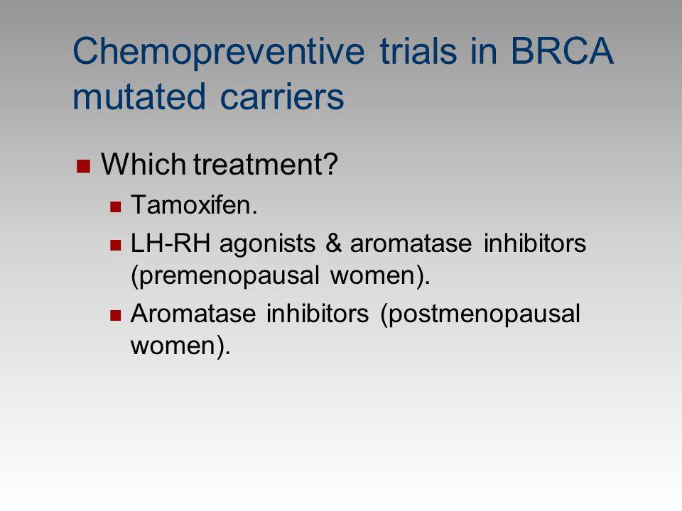 Chemopreventive trials in BRCA mutated carriers Which treatment? Tamoxifen. LH-RH agonists & aromatase inhibitors (premenopausal women). Aromatase inh