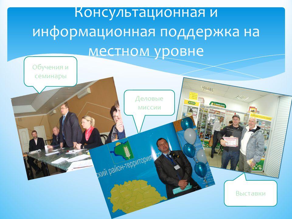 Консультационная и информационная поддержка на местном уровне Обучения и семинары Деловые миссии Выставки