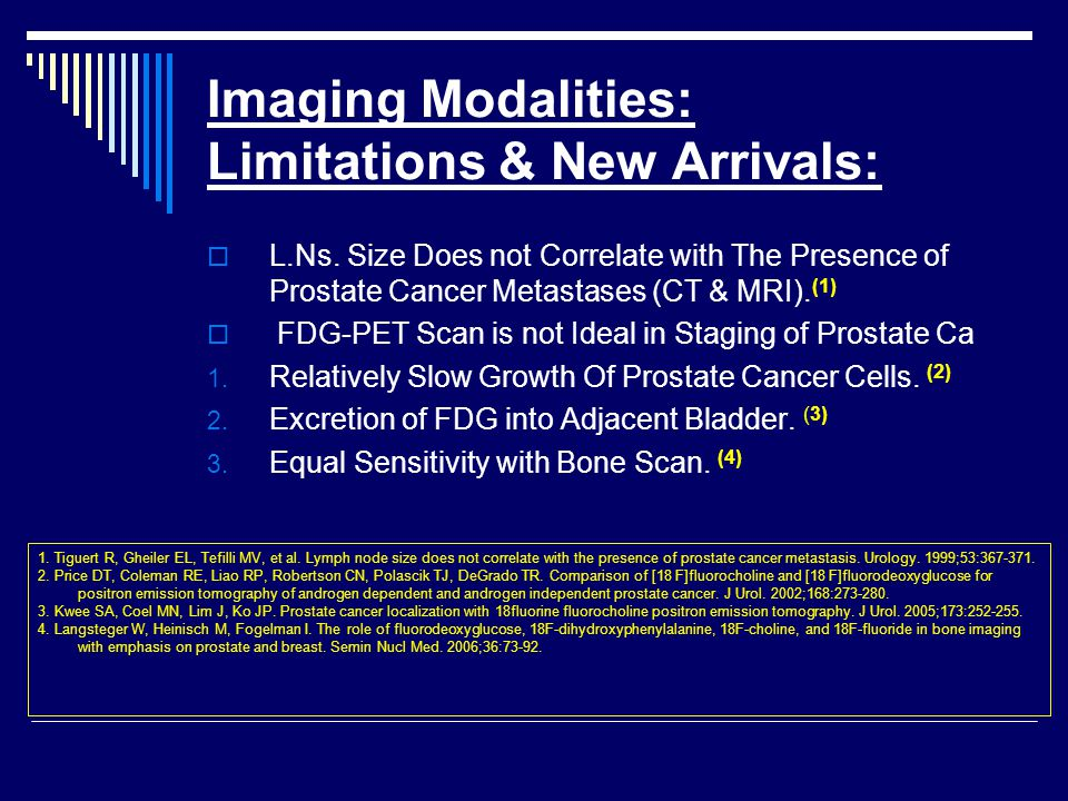 Imaging Modalities: Limitations & New Arrivals:  L.Ns. Size Does not Correlate with The Presence of Prostate Cancer Metastases (CT & MRI). (1)  FDG-