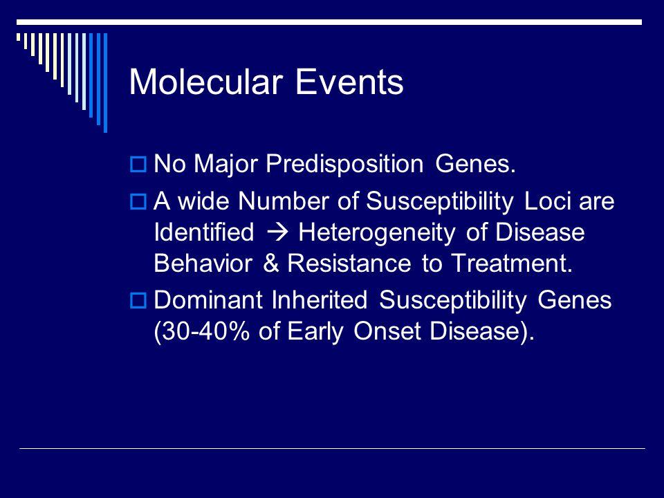 Molecular Events  No Major Predisposition Genes.  A wide Number of Susceptibility Loci are Identified  Heterogeneity of Disease Behavior & Resistan
