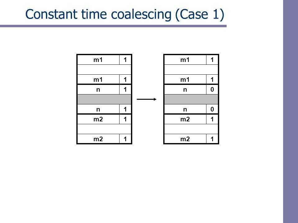 m11 Constant time coalescing (Case 1) m11 n1 n1 m21 1 m11 1 n0 n0 m21 1