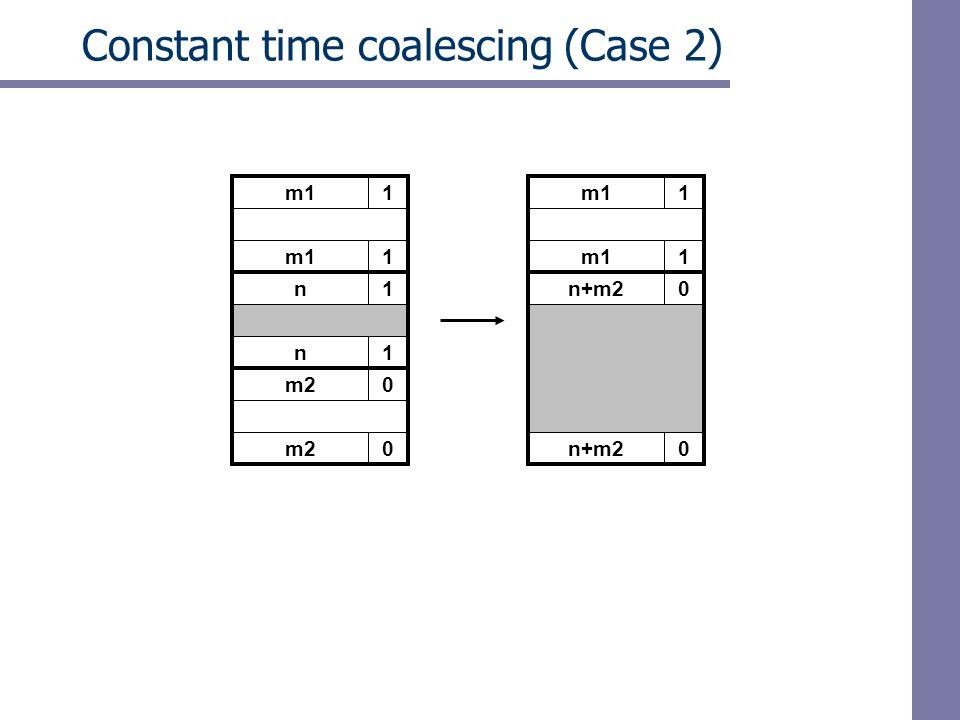 m11 Constant time coalescing (Case 2) m11 n+m20 0 m11 1 n1 n1 m20 0