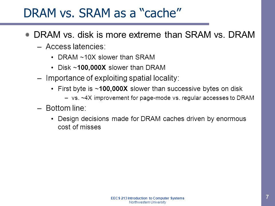 Impact of properties on design If DRAM was to be organized similar to an SRAM cache, how would we set the following design parameters.