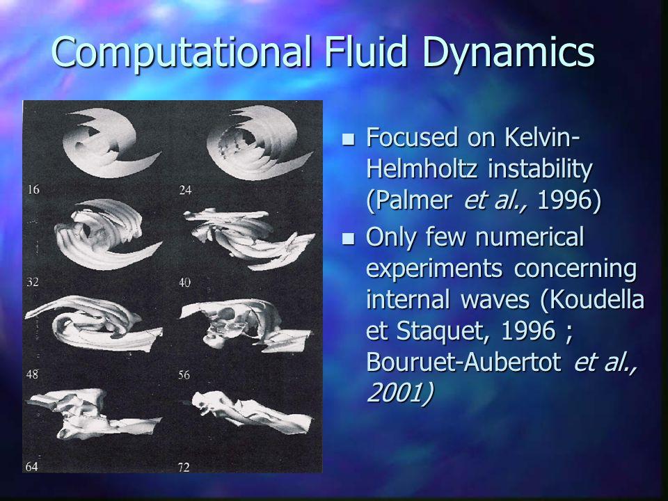 Computational Fluid Dynamics n Focused on Kelvin- Helmholtz instability (Palmer et al., 1996) n Only few numerical experiments concerning internal wav