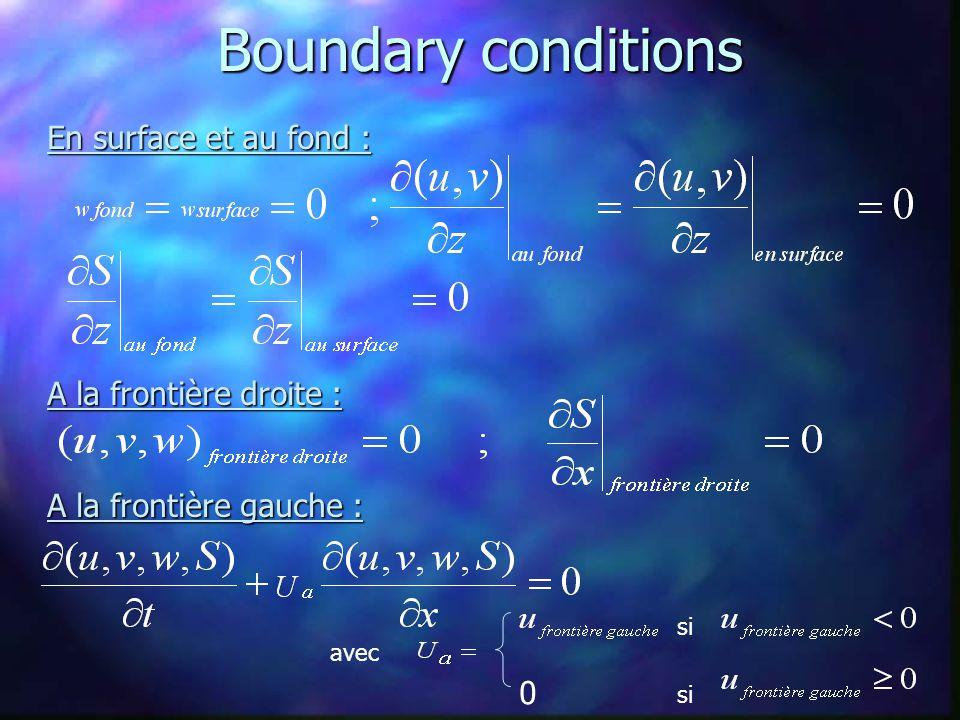 Boundary conditions En surface et au fond : A la frontière droite : A la frontière gauche : si 0 avec
