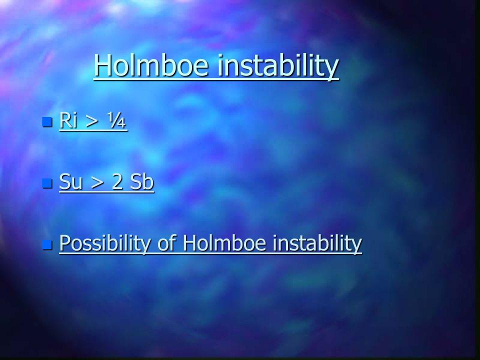 Holmboe instability n Ri > ¼ n Su > 2 Sb n Possibility of Holmboe instability