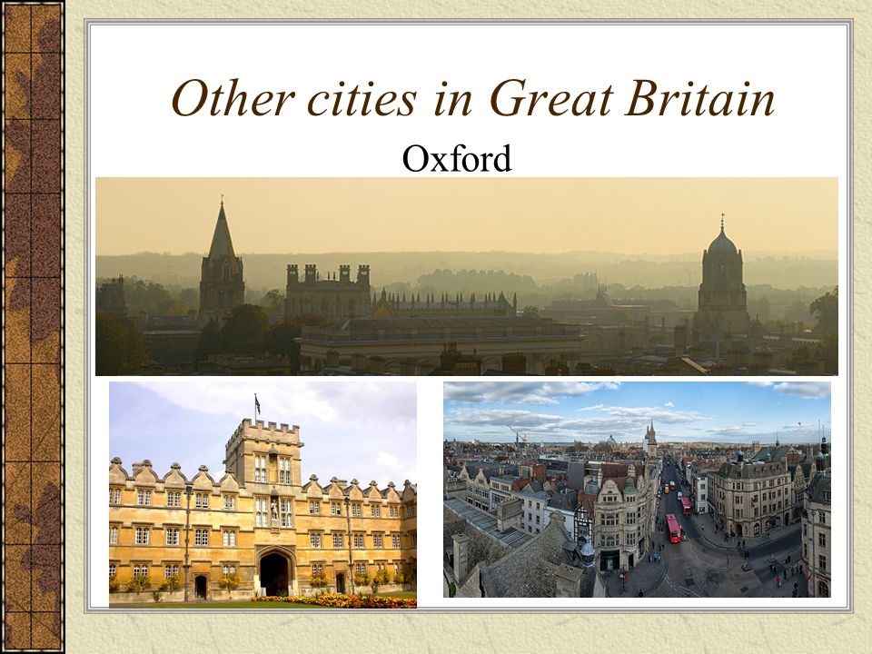 Other cities in Great Britain Oxford