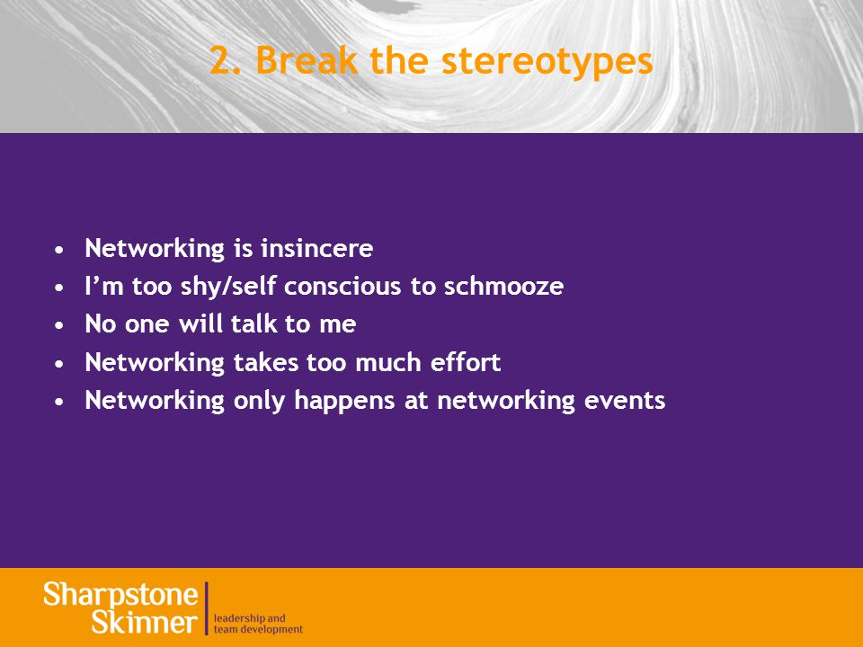 Networking is insincere I'm too shy/self conscious to schmooze No one will talk to me Networking takes too much effort Networking only happens at netw