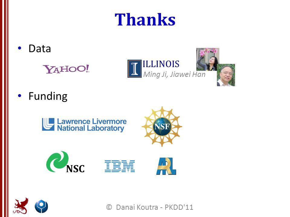 Thanks Data Funding NSC ILLINOIS Ming Ji, Jiawei Han © Danai Koutra - PKDD 11