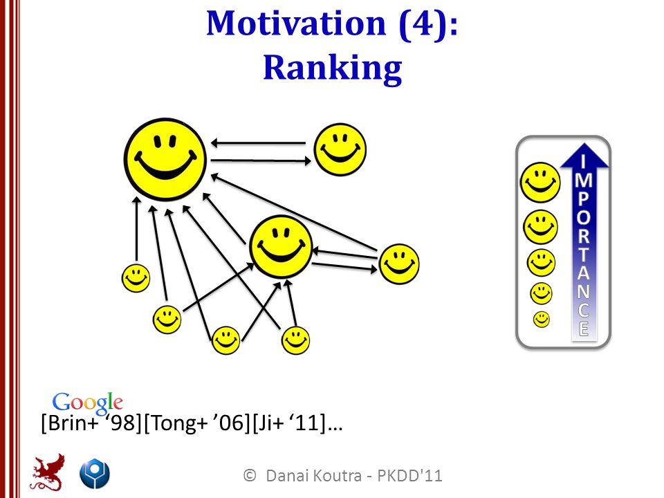 Motivation (4): Ranking [Brin+ '98][Tong+ '06][Ji+ '11]… © Danai Koutra - PKDD 11