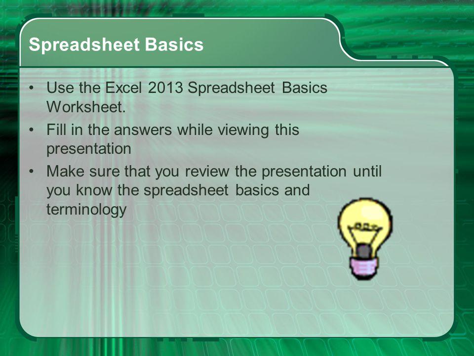 Computer basics worksheet key