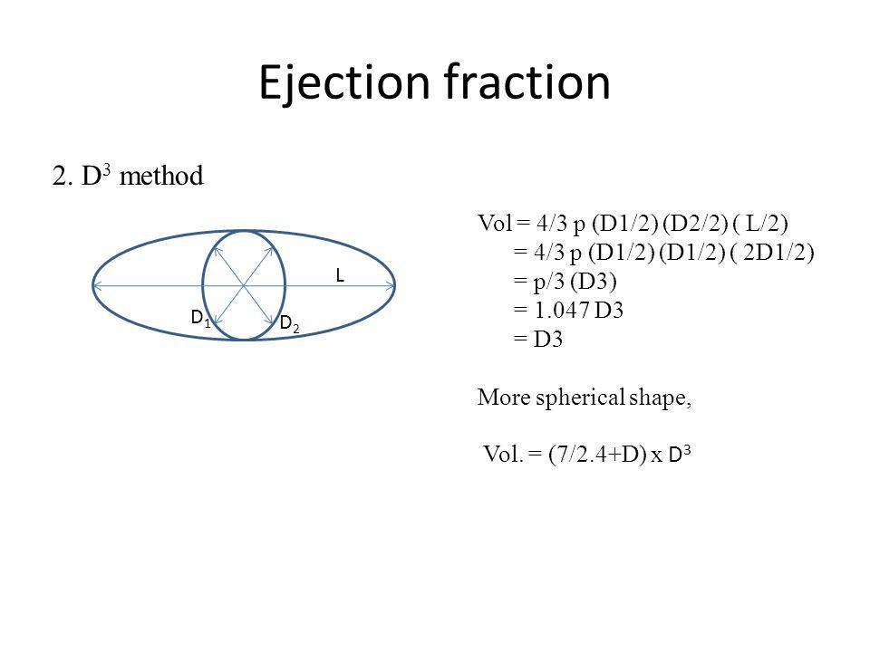 Ejection fraction 2. D 3 method D1D1 D2D2 L Vol = 4/3 p (D1/2) (D2/2) ( L/2) = 4/3 p (D1/2) (D1/2) ( 2D1/2) = p/3 (D3) = 1.047 D3 = D3 More spherical