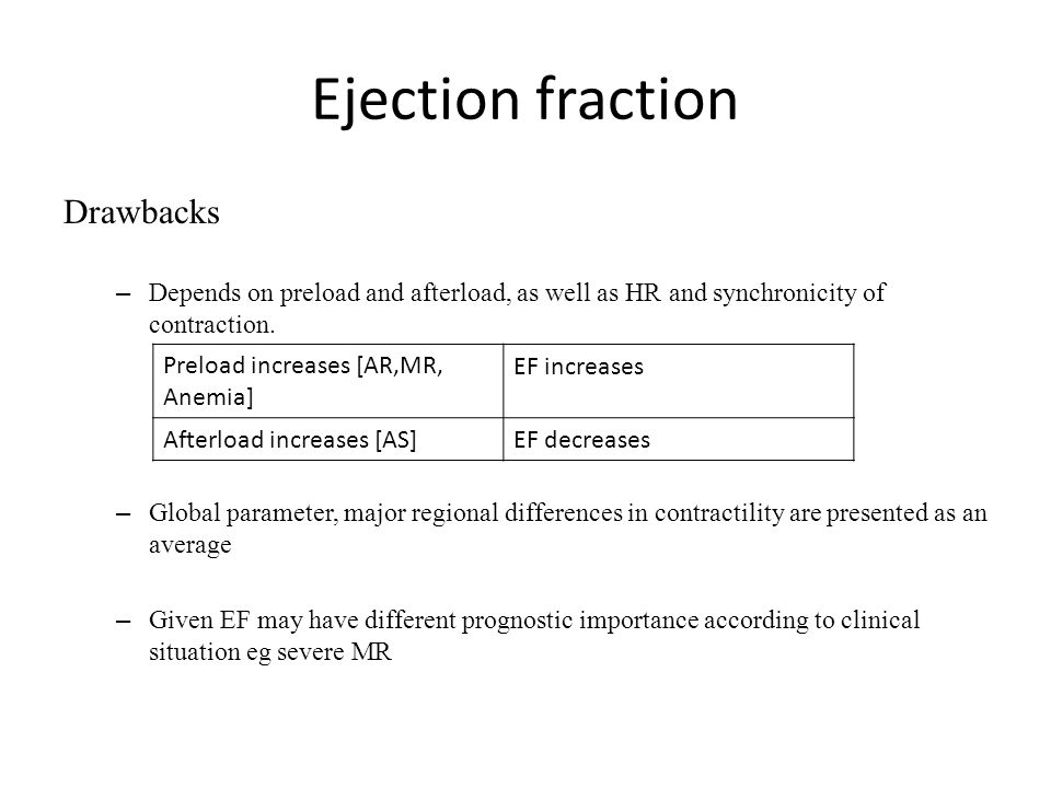Ejection fraction Drawbacks – Depends on preload and afterload, as well as HR and synchronicity of contraction. – Global parameter, major regional dif