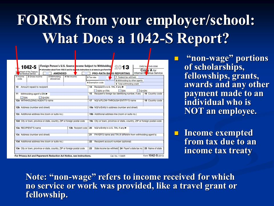 FORMS from your employer/school: What Does a 1042-S Report.