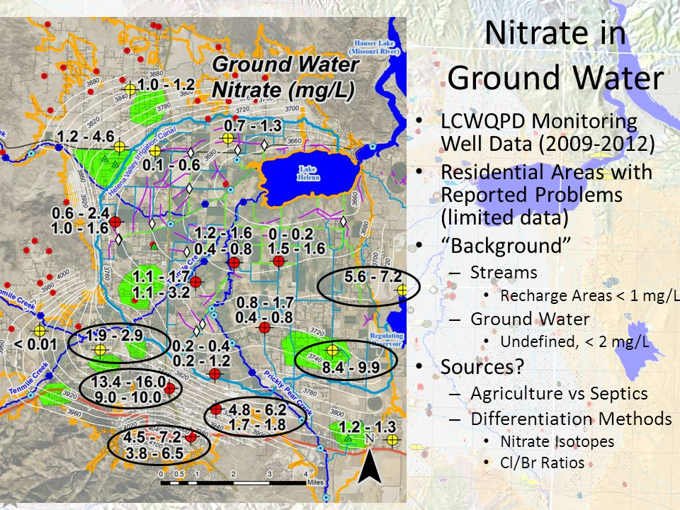 LCWQPD Monitoring Well Data (2009-2012) Residential Areas with Reported Problems (limited data) Background – Streams Recharge Areas < 1 mg/L – Ground Water Undefined, < 2 mg/L Sources.
