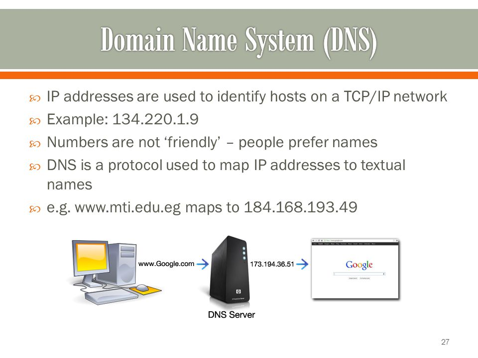  IP addresses are used to identify hosts on a TCP/IP network  Example: 134.220.1.9  Numbers are not 'friendly' – people prefer names  DNS is a protocol used to map IP addresses to textual names  e.g.