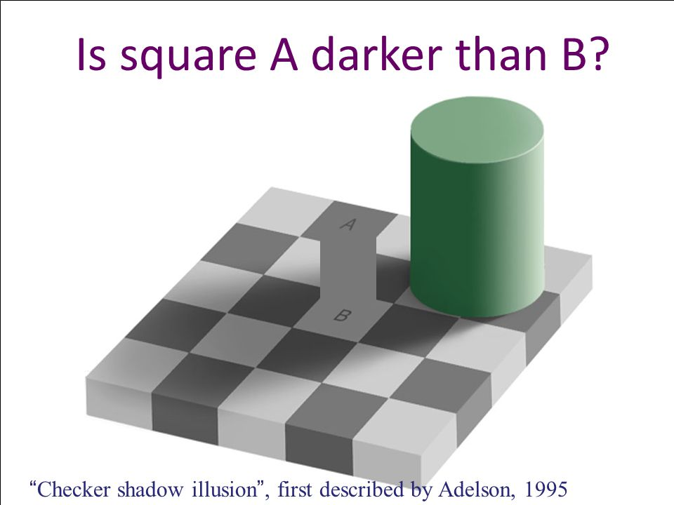 Is square A darker than B Checker shadow illusion , first described by Adelson, 1995