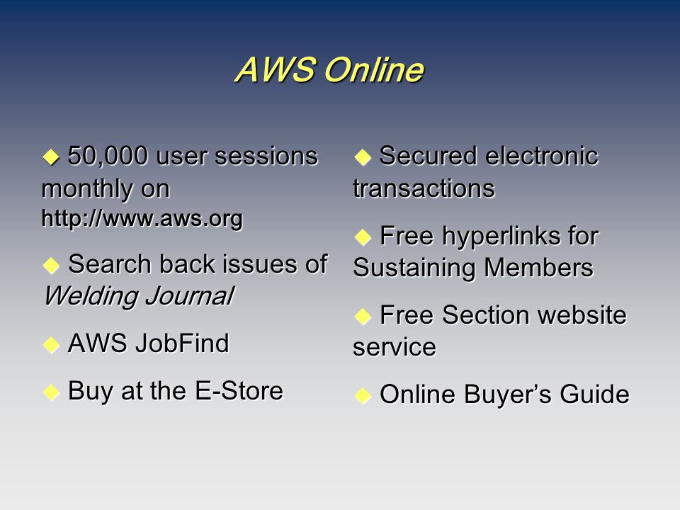AWS Online  50,000 user sessions monthly on http://www.aws.org u Search back issues of Welding Journal u AWS JobFind u Buy at the E-Store  Secured e