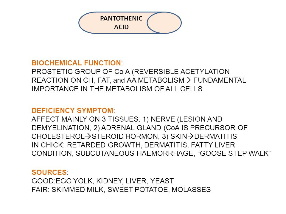 PANTOTHENIC ACID BIOCHEMICAL FUNCTION: PROSTETIC GROUP OF Co A (REVERSIBLE ACETYLATION REACTION ON CH, FAT, and AA METABOLISM  FUNDAMENTAL IMPORTANCE IN THE METABOLISM OF ALL CELLS DEFICIENCY SYMPTOM: AFFECT MAINLY ON 3 TISSUES: 1) NERVE (LESION AND DEMYELINATION, 2) ADRENAL GLAND (CoA IS PRECURSOR OF CHOLESTEROL  STEROID HORMON, 3) SKIN  DERMATITIS IN CHICK: RETARDED GROWTH, DERMATITIS, FATTY LIVER CONDITION, SUBCUTANEOUS HAEMORRHAGE, GOOSE STEP WALK SOURCES: GOOD:EGG YOLK, KIDNEY, LIVER, YEAST FAIR: SKIMMED MILK, SWEET POTATOE, MOLASSES