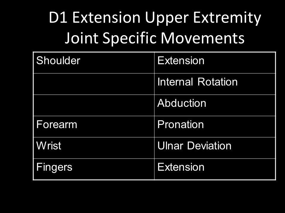 D1 Extension Upper Extremity Joint Specific Movements ShoulderExtension Internal Rotation Abduction ForearmPronation WristUlnar Deviation FingersExtension