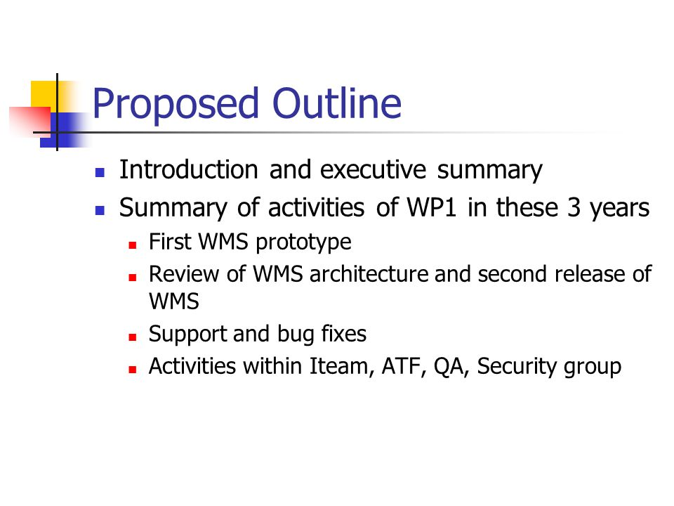 Proposed Outline Introduction and executive summary Summary of activities of WP1 in these 3 years First WMS prototype Review of WMS architecture and s