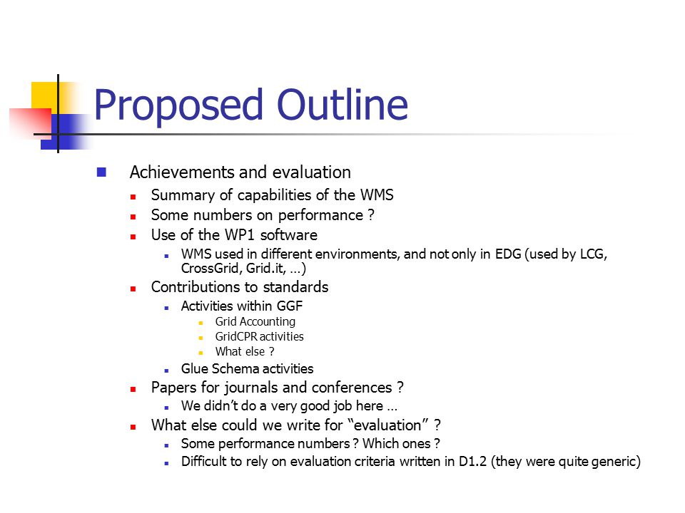 Proposed Outline Deviations (Final results wrt what was initially planned in the TA) What was not done (or was not deployed) but was planned and why .