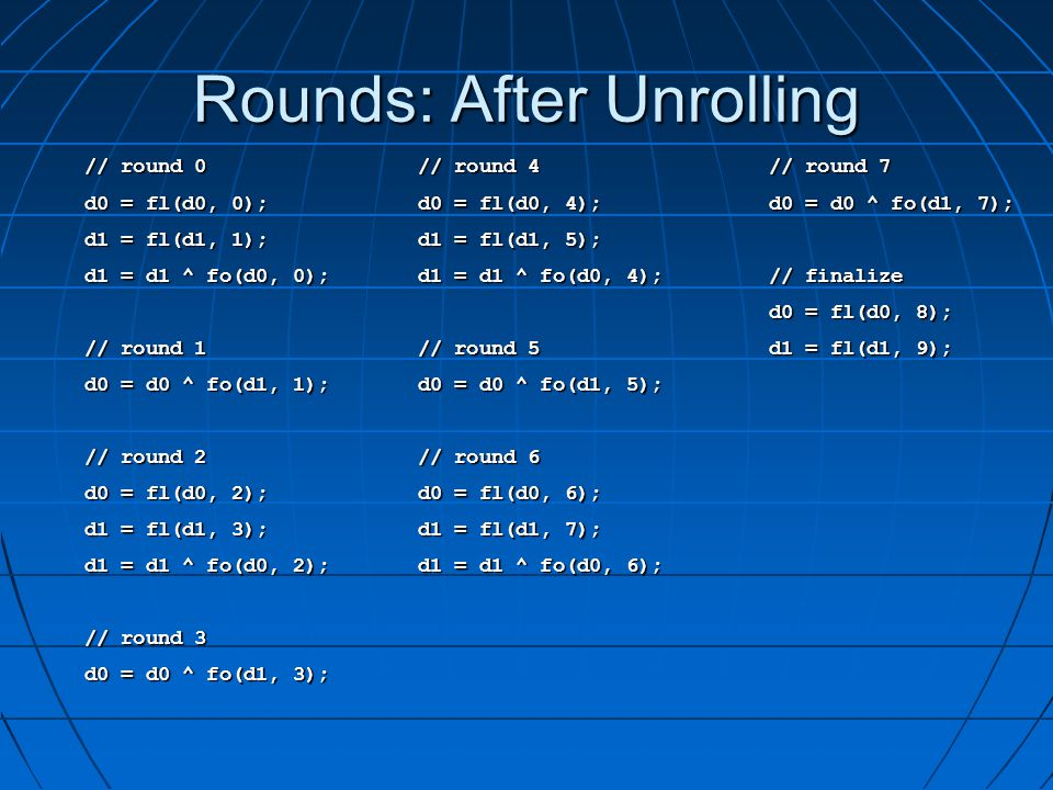 Rounds: After Unrolling // round 0 // round 0 d0 = fl(d0, 0); d0 = fl(d0, 0); d1 = fl(d1, 1); d1 = fl(d1, 1); d1 = d1 ^ fo(d0, 0); d1 = d1 ^ fo(d0, 0); // round 1 // round 1 d0 = d0 ^ fo(d1, 1); d0 = d0 ^ fo(d1, 1); // round 2 // round 2 d0 = fl(d0, 2); d0 = fl(d0, 2); d1 = fl(d1, 3); d1 = fl(d1, 3); d1 = d1 ^ fo(d0, 2); d1 = d1 ^ fo(d0, 2); // round 3 // round 3 d0 = d0 ^ fo(d1, 3); d0 = d0 ^ fo(d1, 3); // round 7 // round 7 d0 = d0 ^ fo(d1, 7); d0 = d0 ^ fo(d1, 7); // finalize // finalize d0 = fl(d0, 8); d0 = fl(d0, 8); d1 = fl(d1, 9); d1 = fl(d1, 9); // round 4 // round 4 d0 = fl(d0, 4); d0 = fl(d0, 4); d1 = fl(d1, 5); d1 = fl(d1, 5); d1 = d1 ^ fo(d0, 4); d1 = d1 ^ fo(d0, 4); // round 5 // round 5 d0 = d0 ^ fo(d1, 5); d0 = d0 ^ fo(d1, 5); // round 6 // round 6 d0 = fl(d0, 6); d0 = fl(d0, 6); d1 = fl(d1, 7); d1 = fl(d1, 7); d1 = d1 ^ fo(d0, 6); d1 = d1 ^ fo(d0, 6);
