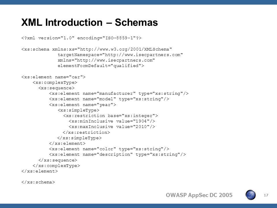 OWASP AppSec DC 2005 17 XML Introduction – Schemas <xs:schema xmlns:xs= http://www.w3.org/2001/XMLSchema targetNamespace= http://www.isecpartners.com xmlns= http://www.isecpartners.com elementFormDefault= qualified >