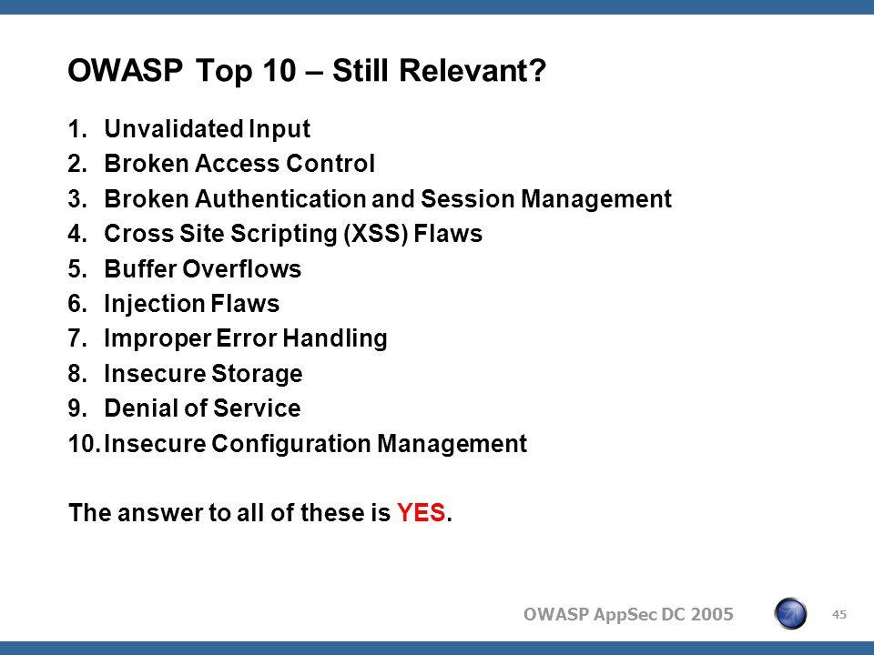 OWASP AppSec DC 2005 45 OWASP Top 10 – Still Relevant.