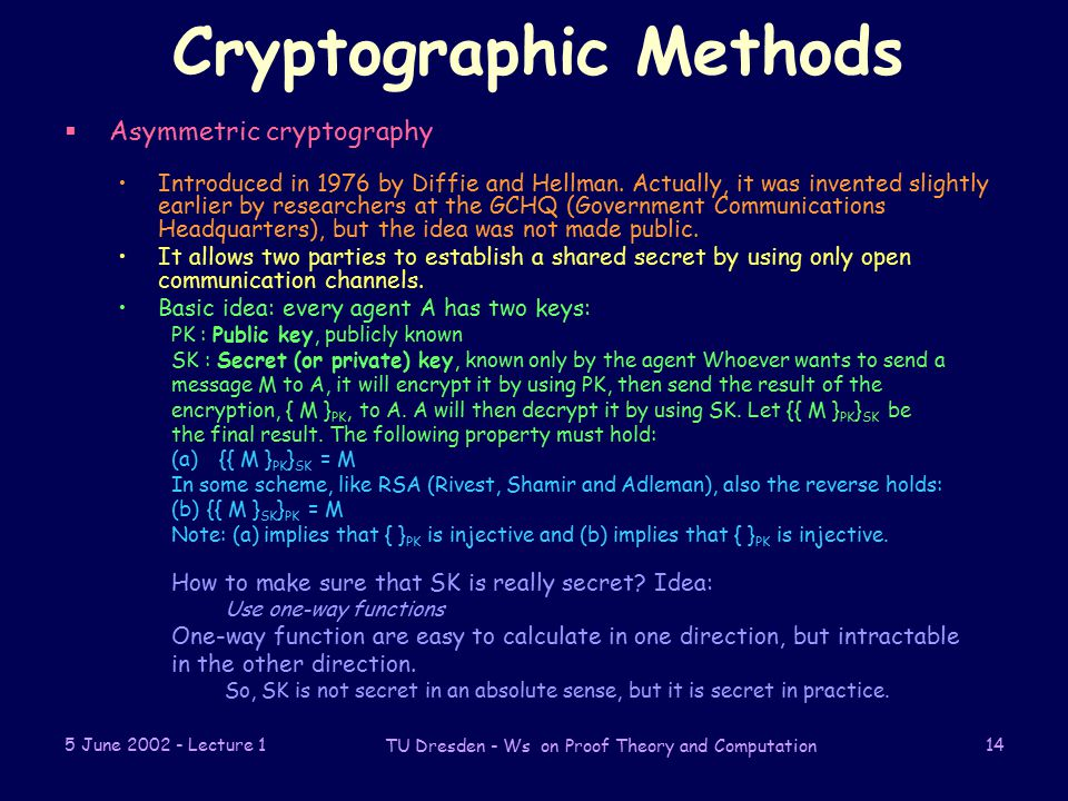 5 June Lecture 1 TU Dresden - Ws on Proof Theory and Computation 14 Cryptographic Methods  Asymmetric cryptography Introduced in 1976 by Diffie and Hellman.